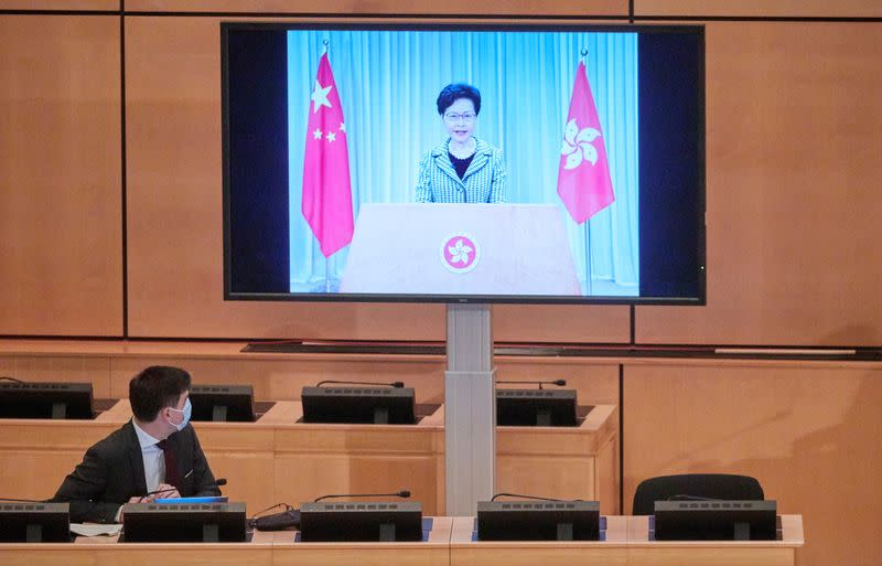 Lam, chief executive of Hong Kong, addresses by video link the Human Rights Council in Geneva