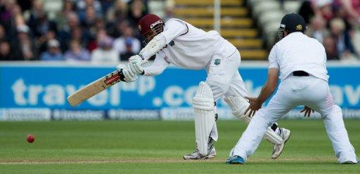 West Indies Denesh Ramdin (L) bats during the third day of the third Test match between England and West Indies