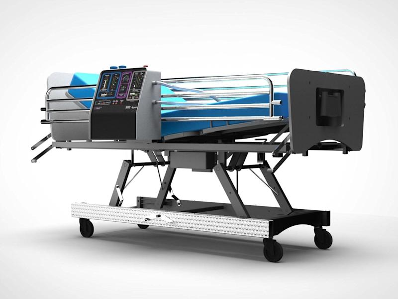 An image issued by Dyson of their proposed CoVent ventilator on a hospital bed: PA