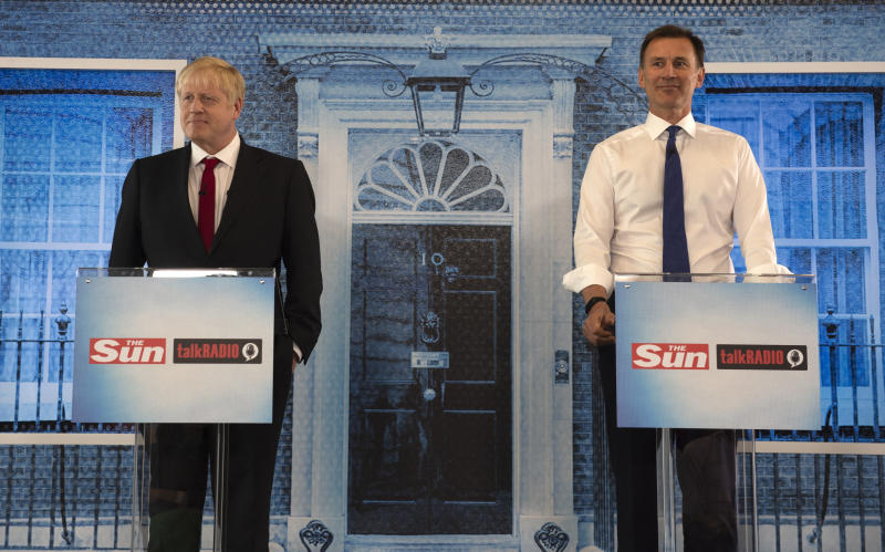 PORTSMOUTH, ENGLAND - JUNE 26: Boris Johnson and Jeremy Hunt take part in a Hustings debate hosted by the Sun/Talk Radio at Talk Radio in The News Building on July 15, 2019 in London, England. Boris Johnson and Jeremy Hunt are the remaining candidates in contention for the Conservative Party Leadership and thus Prime Minister of the UK. Results will be announced on July 23rd 2019. (Photo by Louis Wood - WPA Pool/Getty Images)