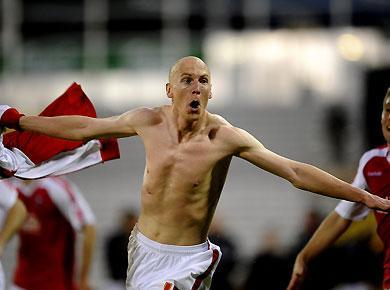 <p>Kevin Ellison of Rotheram celebrates scoring the second goal during the Coca-Cola League Two Playoff Semi Final 2nd Leg match between Rotherham United and Aldershot Town at Don Valley Stadim on May 19, 2010 in Sheffield, England.</p>