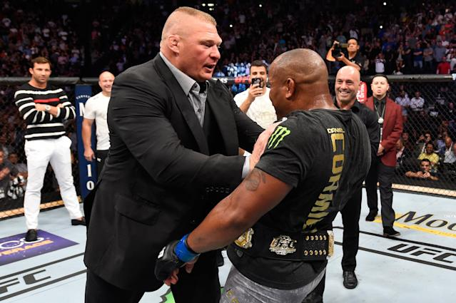 Brock Lesnar confronts Daniel Cormier after his UFC heavyweight championship fight at UFC 226 inside T-Mobile Arena on July 7, 2018 in Las Vegas, Nevada. (Getty Images)