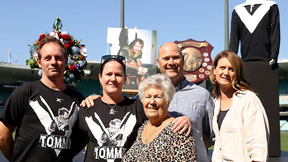 Tommy Raudonikis' wife Trish Brown is seen here with other members of the icon's family.