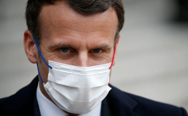 PARIS: French President Emmanuel Macron, wearing a protective face mask. (Photo: Chesnot via Getty Images)