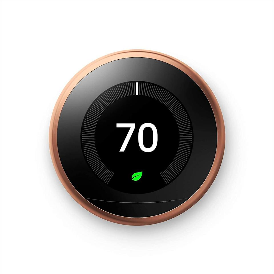 """It'lllearn your preferences based on the time of day and season, and make sure your home is always the perfect temperature and you're not sweating up a storm.<br /><br /><strong>Promising review:</strong>""""I've never had a smart thermostat before, so I have nothing to compare it to. But this Nest device is amazing. Even better, the installation instructions are CLEAR and EASY to understand! There are interactive pictures and a text-based set of instructions online that take you through each step, and troubleshoot along the way. The thermostat works with my Google Mini and of course the Nest app. You can program what times you want the house to be at which temp and it will either start heating/cooling at that time, or you can set it to start before then, so it's nice and comfy when you get home. It has features for dealing with humidity and can even learn your temp preferences and adjust accordingly."""" — <a href=""""https://www.amazon.com/gp/customer-reviews/R366OZ2082NP06?&linkCode=ll2&tag=huffpost-bfsyndication-20&linkId=2438a68e138a95eb6ace2723e5504f59&language=en_US&ref_=as_li_ss_tl"""" target=""""_blank"""" rel=""""noopener noreferrer"""">L Williams</a><br /><br /><strong><a href=""""https://www.amazon.com/Nest-Learning-Thermostat-Generation-Amazon/dp/B01M65EKLG?th=1&linkCode=ll1&tag=huffpost-bfsyndication-20&linkId=c5bc311df488b5347429b353b0f600da&language=en_US&ref_=as_li_ss_tl"""" target=""""_blank"""" rel=""""noopener noreferrer"""">Get it from Amazon for $219.99+ (available in seven colors).</a></strong>"""