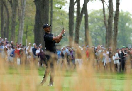 May 17, 2019; Bethpage, NY, USA; Tiger Woods on the seventh hole during the second round of the PGA Championship golf tournament at Bethpage State Park - Black Course. Mandatory Credit: Brad Penner-USA TODAY Sports