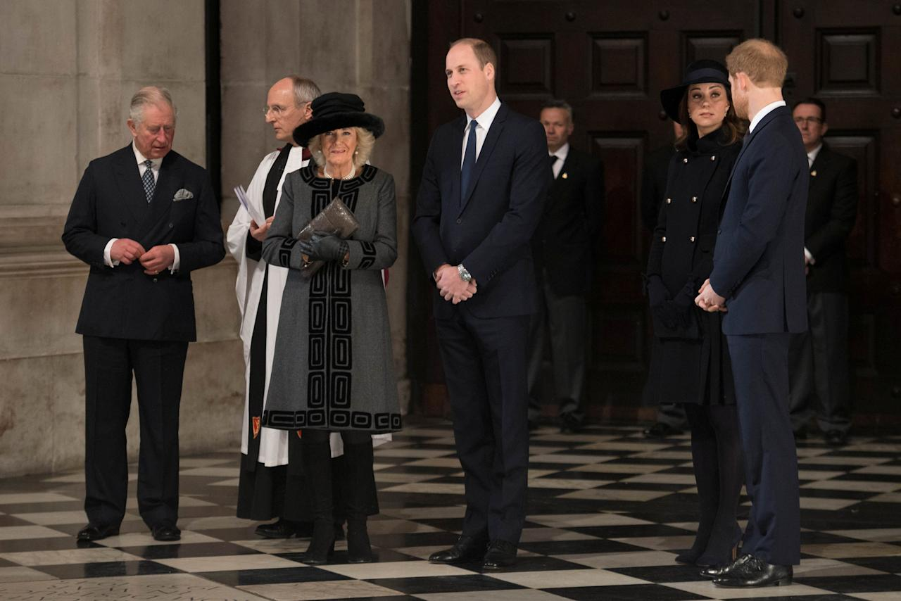 Britain's Prince Charles, The Duchess of Cornwall, Prince William, the Duke of Cambridge, Princess Catherine, the Dutchess of Cambridge and Prince Harry attend a memorial service in honour of the victims of the Grenfell Tower fire at St Paul's Cathedral in London, Britain December 14, 2017. REUTERS/Stefan Rousseau/Pool