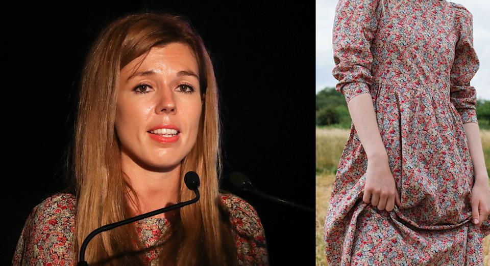 Carrie Symonds wore a £255 floral midi dress by an eco-friendly designer [Photo: PA]