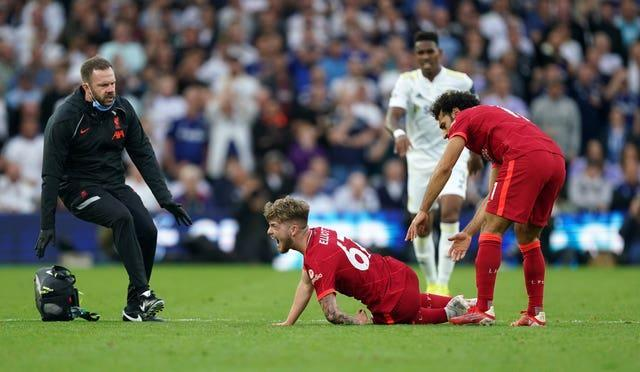 Liverpool's Harvey Elliott was in distress after sustaining serious injury last Sunday at Elland Road