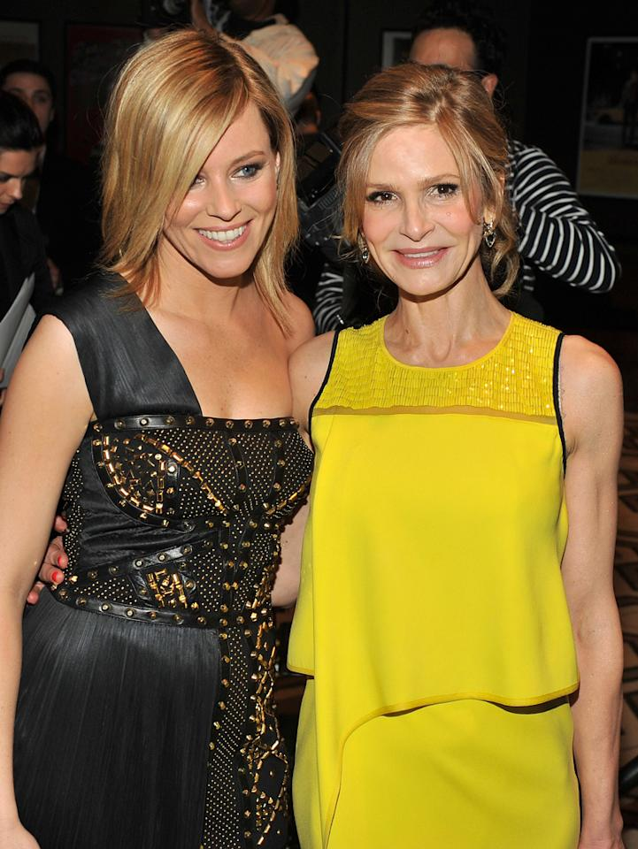 "Elizabeth Banks and Kyra Sedgwick at the New York Cinema Society screening of ""<a href=""http://movies.yahoo.com/movie/man-on-a-ledge/"">Man on a Ledge</a>"" on January 20, 2012."