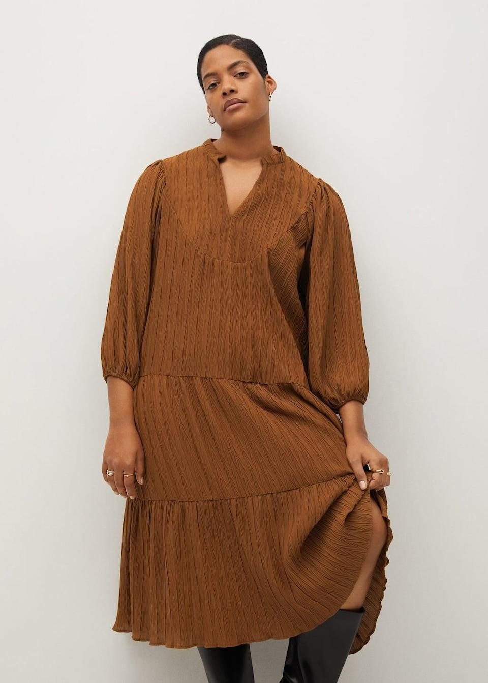 <p>Pair this <span>Mango Flared Midi Dress</span> ($60, originally $100) with boots or slides when the weather turns. </p>
