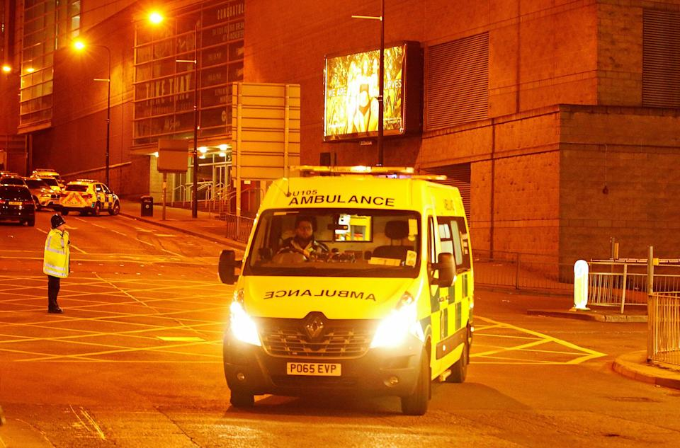 <p>An ambulance drives away from the Manchester Arena, where U.S. singer Ariana Grande had been performing, in Manchester, northern England, Britain, May 23, 2017. (Andrew Yates/Reuters) </p>