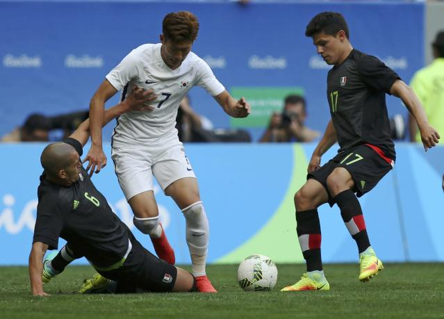 2016 Rio Olympics - Soccer - Preliminary - Men's First Round - Group C South Korea v Mexico - Mane Garrincha Stadium - Brasilia, Brazil - 10/08/2016. Heungmin Son (KOR) of Republic of Korea in action against Arturo Gonzalez (MEX) of Mexico and Jorge Torres (MEX) of Mexico. REUTERS/Ueslei Marcelino FOR EDITORIAL USE ONLY. NOT FOR SALE FOR MARKETING OR ADVERTISING CAMPAIGNS.