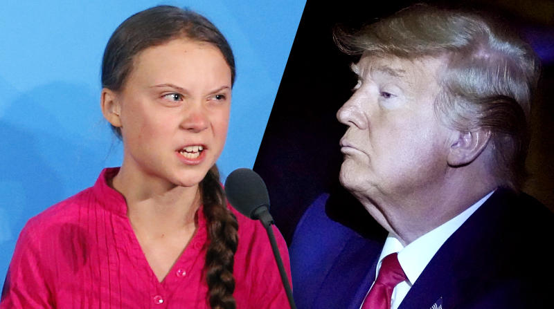 Greta Thunberg and President Trump. (Photos: Jason DeCrow/AP, Carlo Allegri/Reuters)