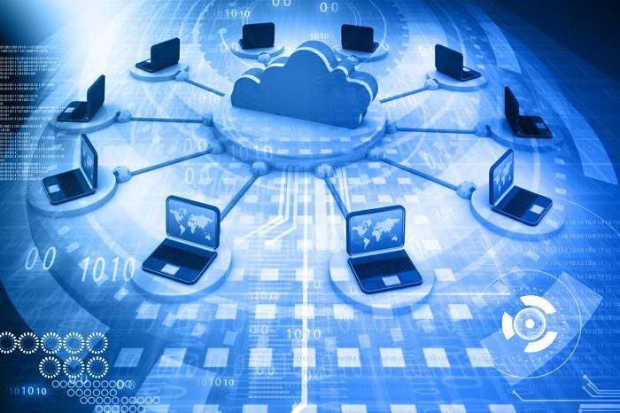 An illustrated cloud surrounded by a bank of computers, signifying a data center