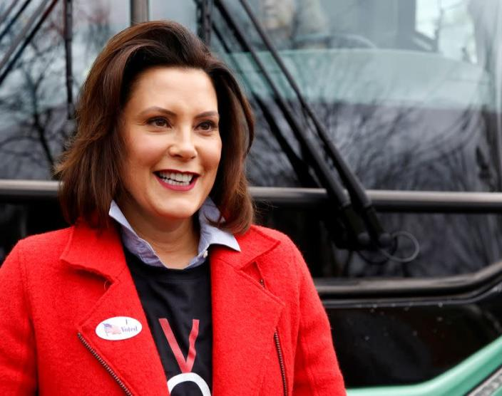 Democratic gubernatorial candidate Gretchen Whitmer arrives to vote in East Lansing