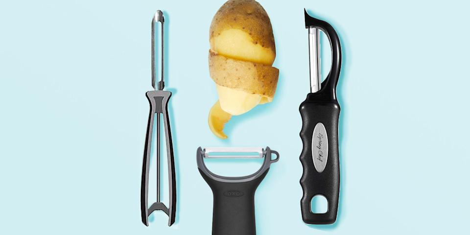 """<p>Before you reach for the <a href=""""https://www.goodhousekeeping.com/cooking-tools/g34017113/best-potato-mashers/"""" rel=""""nofollow noopener"""" target=""""_blank"""" data-ylk=""""slk:best potato mashers"""" class=""""link rapid-noclick-resp"""">best potato mashers</a> for <a href=""""https://www.goodhousekeeping.com/food-recipes/a14963/garlicky-herb-mashed-potatoes-recipe-ghk0313/"""" rel=""""nofollow noopener"""" target=""""_blank"""" data-ylk=""""slk:herbed mashed potatoes"""" class=""""link rapid-noclick-resp"""">herbed mashed potatoes</a> and even before you grab the best <a href=""""https://www.goodhousekeeping.com/cooking-tools/g29562517/best-cheese-graters/"""" rel=""""nofollow noopener"""" target=""""_blank"""" data-ylk=""""slk:graters"""" class=""""link rapid-noclick-resp"""">graters</a> for <a href=""""https://www.goodhousekeeping.com/food-recipes/easy/a46929/easy-potato-latkes-recipe/"""" rel=""""nofollow noopener"""" target=""""_blank"""" data-ylk=""""slk:easy potato latkes"""" class=""""link rapid-noclick-resp"""">easy potato latkes</a>, you need a potato peeler. The right peeler will make it a breeze to tackle a ton of taters, as well as as assortment of other ingredients, from apples and carrots to butternut squash and more unusual suspects like cheese and chocolate. <br></p><h2 class=""""body-h2""""><strong>How we test potato peelers</strong></h2><p class=""""body-text"""">In the<a href=""""https://www.goodhousekeeping.com/institute/about-the-institute/a19748212/good-housekeeping-institute-product-reviews/"""" rel=""""nofollow noopener"""" target=""""_blank"""" data-ylk=""""slk:Good Housekeeping Institute"""" class=""""link rapid-noclick-resp""""> Good Housekeeping Institute</a>'s Kitchen Appliances Lab, we tested more than a dozen potato peelers by peeling carrots, potatoes, sweet potatoes, and apples. We evaluated the thinness of the peeled skins, the smoothness of the peeling process, and the nuance of the eyer. We also noted whether the peeler was comfortable to hold and use as well as able to swivel around all shapes quickly and easily. The most efficient peelers made our list of <strong>the best"""