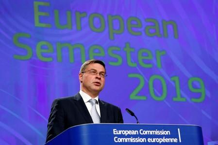 EU Commission Vice-President Dombrovskis holds a news conference in Brussels