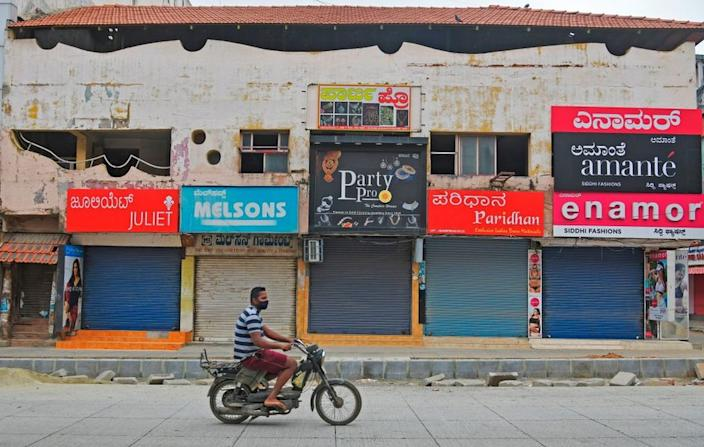 Closed shops in Bangalore in Karnataka, which along with Tamil Nadu has a strict local lockdown