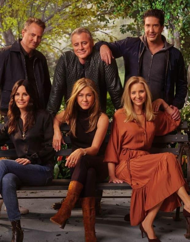 Clockwise from top left, Matthew Perry, Matt LeBlanc, David Schwimmer, Lisa Kudrow, Jennifer Aniston and Courtney Cox, the former co-stars of the hit TV show Friends came together for a long-awaited reunion special now streaming on Crave.  (HBO Max - image credit)