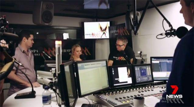 Lambert (left) at his former radio gig in Brisbane. Source: 7News