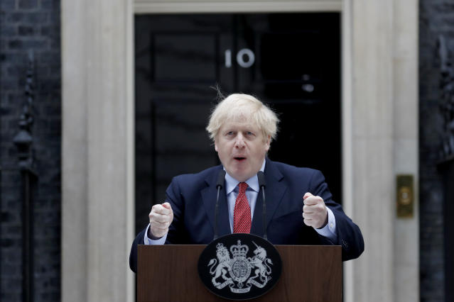 Boris Johnson said the country was moving through its peak of infections and deaths. (AP Photo/Frank Augstein)