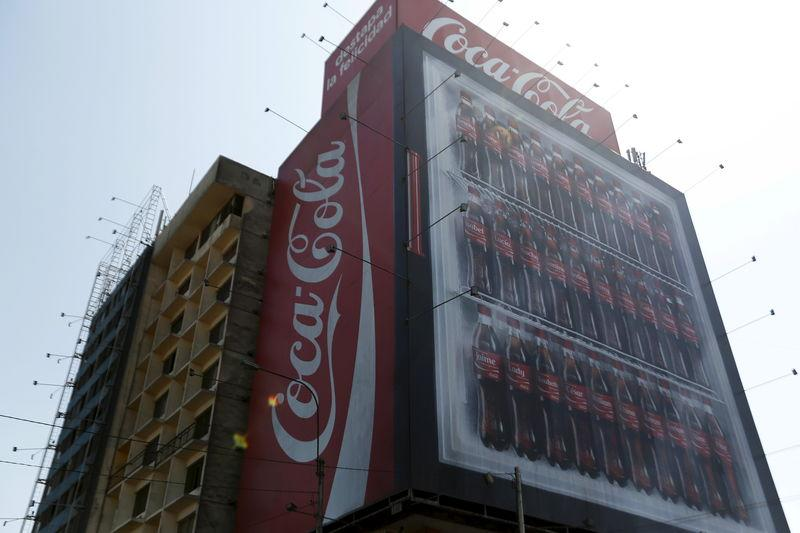 Coca-Cola publicity is seen on a building in downtown Lima
