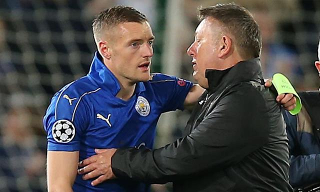"""<span class=""""element-image__caption"""">Jamie Vardy and Craig Shakespeare share the agony of Leicester City's Champions League exit against Atlético Madrid.</span> <span class=""""element-image__credit"""">Photograph: Magi Haroun/Rex/Shutterstock</span>"""