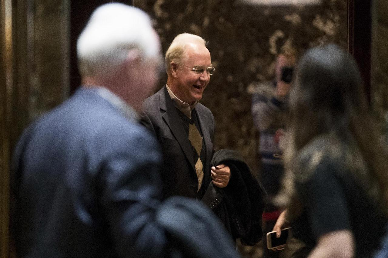 Health and Human Services Secretary-designate, Rep. Tom Price, R- Ga. arrives at Trump Tower in New York, Saturday, Dec. 10, 2016. (AP Photo/Andrew Harnik)