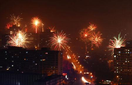 FILE PHOTO: Citizens celebrate China's Lunar New Year with fire works on early morning of January 28, 2017, in Beijing, China. REUTERS/Stringer/File Photo