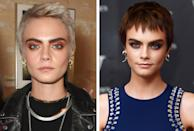 <p><strong>When:</strong> October 4<br>Cara swapped her platinum blonde pixie cut for a chocolate brown do with a choppy fringe. <br><i>[Photo: Getty/Shutterstock]</i> </p>