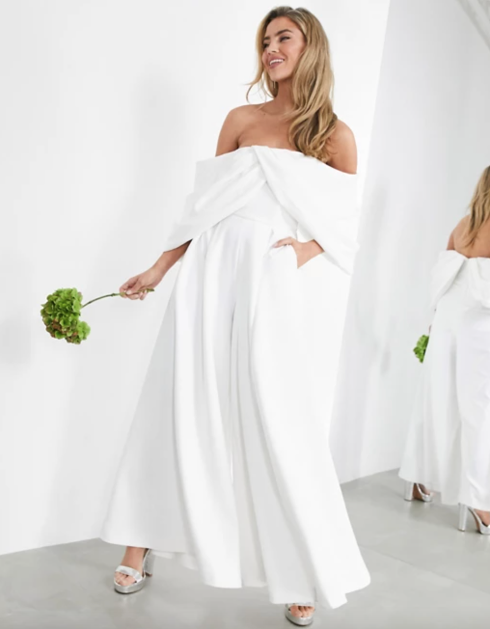 ASOS EDITION 'Erin' Off-Shoulder Drape Wedding Jumpsuit (Photo via ASOS)