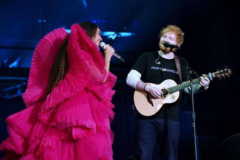 Difference: Ed Sheeran looked very underdressed next to Beyonce: Getty Images for Global Citizen