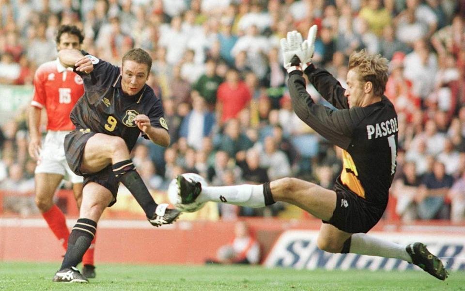 Ally McCoist of Scotland Shoots ,but the shot was saved by Marco Pascolo of Switzerland during Scotland v Switzerland, group A in the European Championship at Villa Park, Birmingham - Clive Brunskill/ALLSPORT