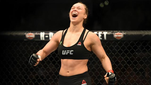 Rousey has not officially retired from MMA but hasn't fought since being knocked out by Amanda Nunes at UFC 207 in December 2016. She is reportedly close to signing a deal to perform for WWE. (Getty)
