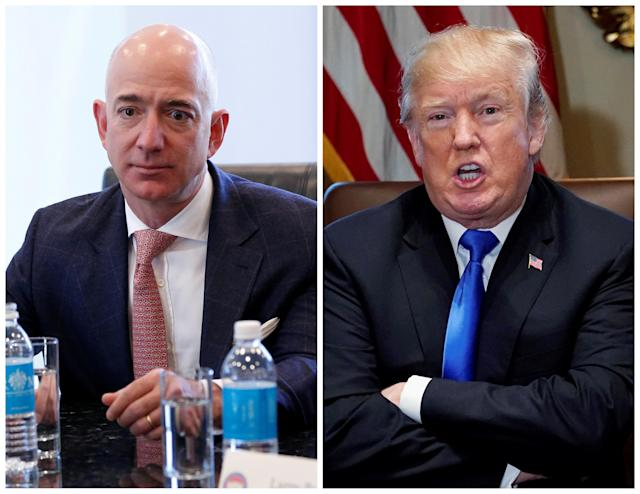 Amazon CEO Jeff Bezos (L) in New York and U.S. President Donald Trump at the White House in Washington, DC, U.S. on December 14, 2016 and on December 20, 2017 respectively. REUTERS/Shannon Stapleton (L) Jonathan Ernst (R)