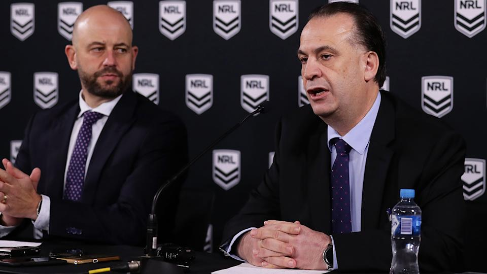 NRL CEO Todd Greenberg and ARLC Chairman Peter V'landys, pictured here addressing the media.