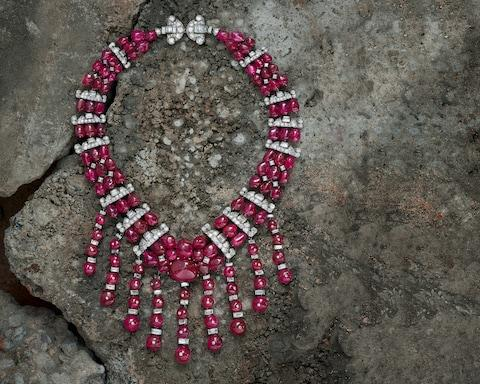 Mauboussin Burmese ruby and diamond transformable necklace, 1930, at Symbolic & Chase