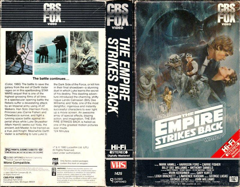 The box art for Empire Strikes Back on VHS.