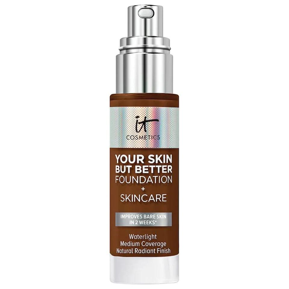 <p>Containing hyaluronic acid, aloe vera, vitamin E and B5, and gentle exfoliators, the <span>It Cosmetics Your Skin But Better Foundation + Skincare</span> ($40) will improve your skin while you wear it. It's a great choice for those who need a boost of hydration in their skin. It has a radiant finish with medium coverage.</p>