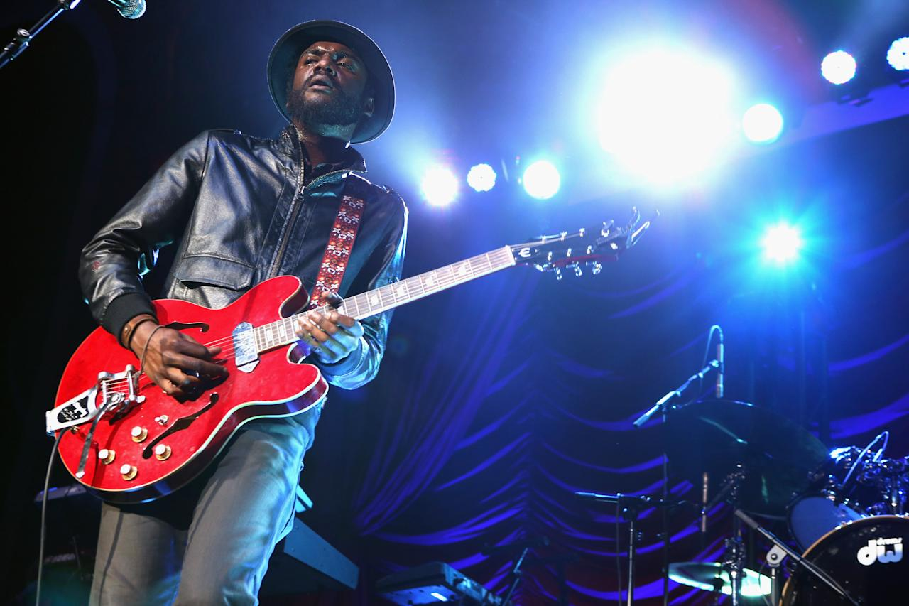 LOS ANGELES, CA - JUNE 30:  Musician Gary Clark Jr. performs onstage at Debra Lee's Pre-BET Awards Celebration during the 2012 BET Awards at Union Station on June 30, 2012 in Los Angeles, California.  (Photo by Christopher Polk/Getty Images For BET)