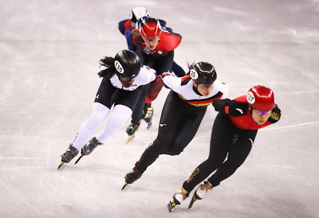 Maame Biney of the United States competes during the Short Track Speed Skating Ladies' 1500m heats on day eight of the PyeongChang 2018 Winter Olympic. (Getty)