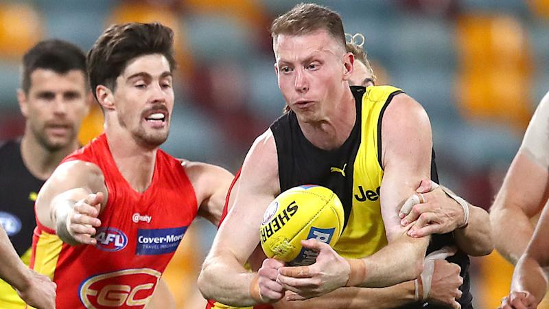 Richmond's Dylan Grimes was subjected to a series of nasty social media threats last weekend. (Photo by Jono Searle/AFL Photos/via Getty Images)