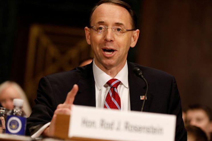 Rod Rosenstein, President Trump's nominee for deputy attorney general, testifies before the Senate Judiciary Committee on Capitol Hill in Washington on March 7, 2017. Photo: Aaron P. Bernstein/Reuters