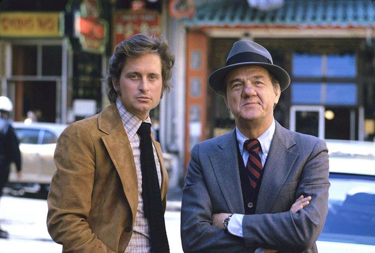 UNITED STATES - SEPTEMBER 11: THE STREETS OF SAN FRANCISCO - gallery - Season Four - 9/11/75, Michael Douglas (Keller), Karl Malden (Stone), (Photo by ABC Photo Archives/ABC via Getty Images