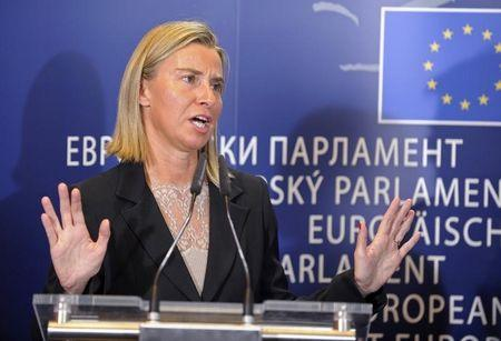 EU Foreign Policy Chief Federica Mogherini holds a news conference at the European Parliament in Brussels