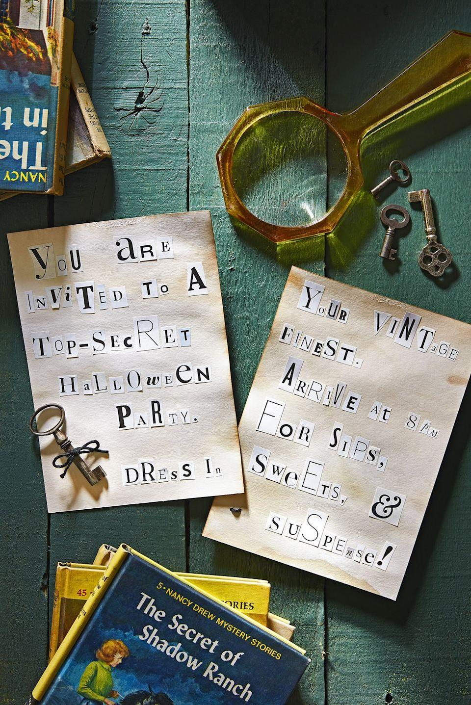"<p>Let tenacious teen detective Nancy Drew help you uncover the secrets to a magnificent mystery-themed meetup, with magnifying glass cookies, magazine-letter cutout invites, and campy detective decor.</p><p><strong>See more ideas for a <a href=""https://www.countryliving.com/entertaining/g4790/nancy-drew-themed-halloween-mystery-party/"" rel=""nofollow noopener"" target=""_blank"" data-ylk=""slk:Nancy Drew-themed Halloween party"" class=""link rapid-noclick-resp"">Nancy Drew-themed Halloween party</a>.</strong></p><p><a class=""link rapid-noclick-resp"" href=""https://www.amazon.com/Secret-Clock-Nancy-Drew-Book/dp/0448095017/?tag=syn-yahoo-20&ascsubtag=%5Bartid%7C10050.g.4620%5Bsrc%7Cyahoo-us"" rel=""nofollow noopener"" target=""_blank"" data-ylk=""slk:SHOP NANCY DREW BOOKS"">SHOP NANCY DREW BOOKS</a></p>"