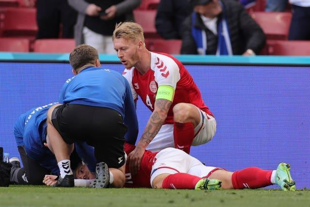 Denmark captain Simon Kjaer was among the first people to attend to Eriksen after his collapse