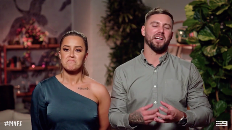 Cathy and Josh pull faces on MAFS dinner party