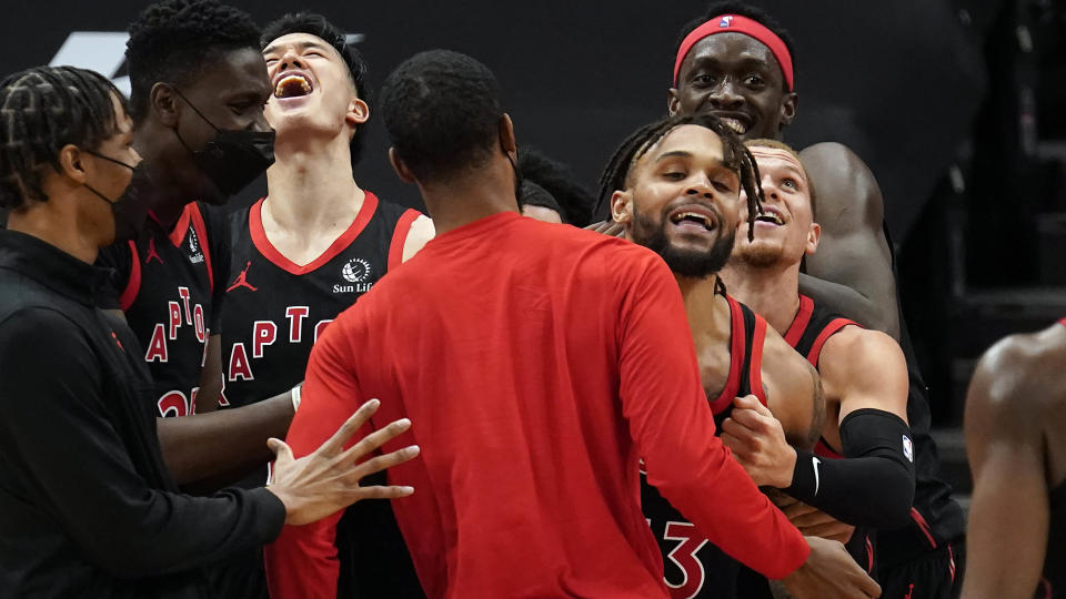 Gary Trent Jr. had his first big moment with the Raptors on Monday, draining a buzzer-beating 3-pointer to beat the Washington Wizards. (AP Photo/Chris O'Meara)